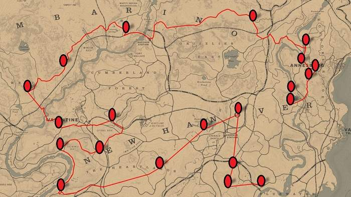 RDR2 Map - Emplacement Attrape-rêves dans Red Dead Redemption 2 Guide
